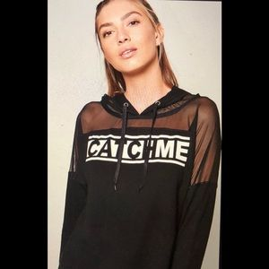 ❤️Black Active Catch Me Mesh Hoodie Sweatshirt L
